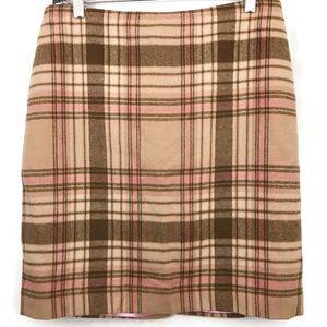 Talbots Wool Blend Plaid Straight Style Skirt
